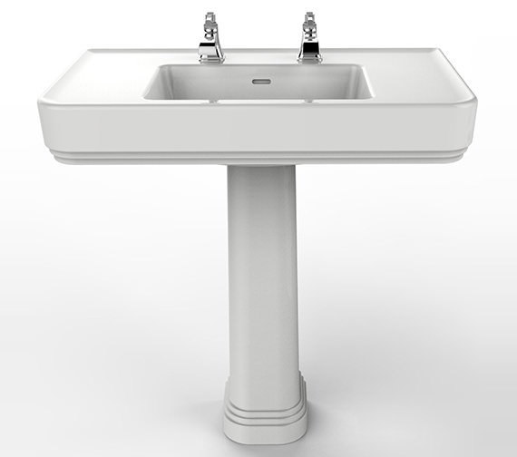Heritage Wynwood 800mm 2 Tapholes Basin And Full Pedestal