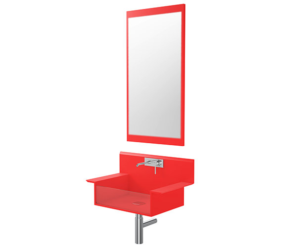 QS Supplies Red Wall Hung Basin With Mirror - LREDWALL