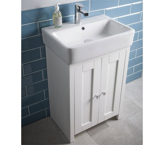 Additional image of Tavistock Lansdown 550mm Freestanding Unit And Basin Linen White - LAN550B.LW, SB900S
