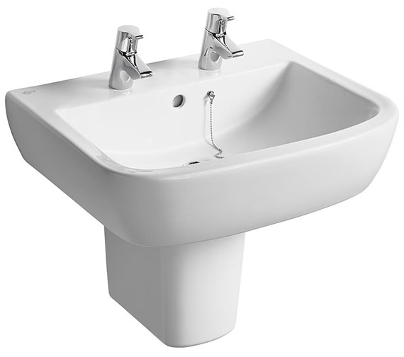 Ideal Standard Tempo 600mm 2 Tap Hole Basin And Semi Pedestal