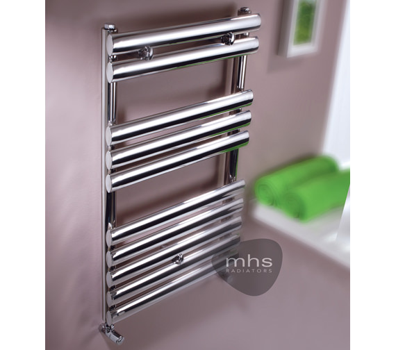 MHS Oval Polished SS Dual Fuel Adjustable Towel Rail 500 x 800mm