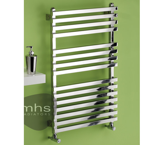 MHS Square Polished Stainless Steel Heated Towel Rail 500 x 800mm