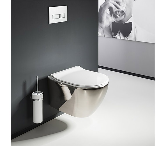Crosswater Svelte Platinum Wall Hung WC Pan With White Soft Close Seat