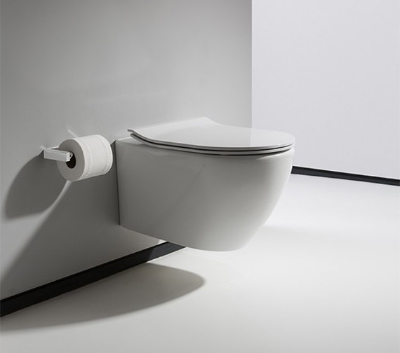 Additional image of Bauhaus Svelte White Wall Hung WC Pan With Soft Close Seat