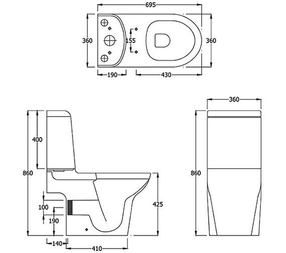 Technical drawing QS-V36260 / Rak Ceramics - QS-V36260