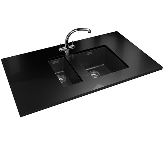 Franke Sirius PP SID 110 16 + SID 110 34 Tectonite Carbon Black Sink And Tap