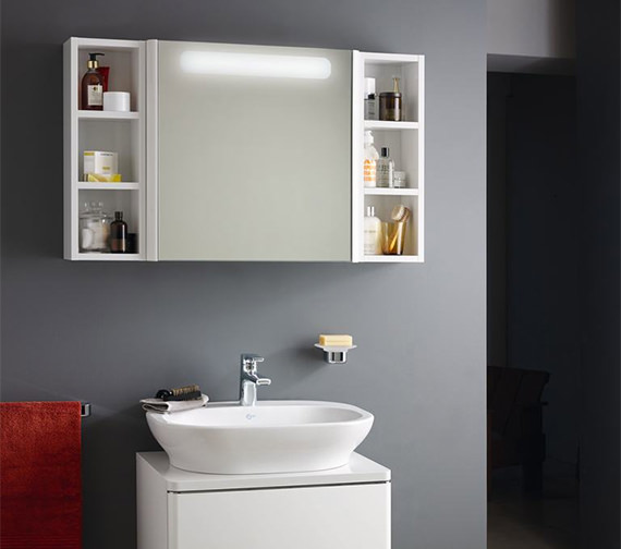 additional image of ideal standard softmood mirror cabinet with light
