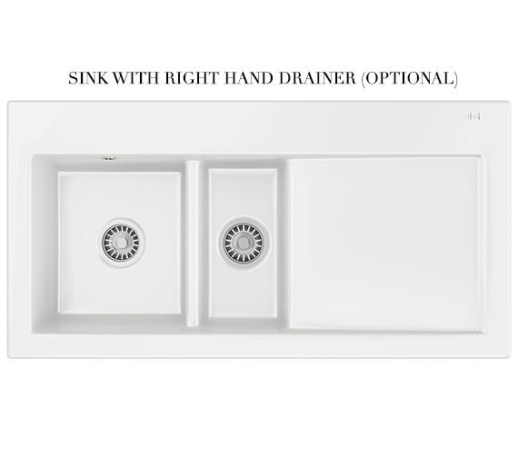 Additional image of Franke Mythos MTK 651 Ceramic White 1.5 Bowl Kitchen Inset Sink