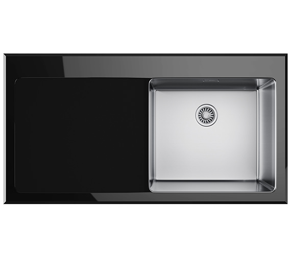 Franke Kubus KBV 611 Black Glass 1.0 Bowl Inset Kitchen Sink