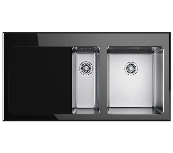 Franke Black Sink : Franke Kubus KBV 651 Black Glass 1.5 Bowl Inset Kitchen Sink ...