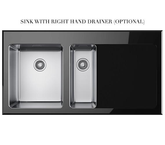 Additional image of Franke Kubus KBV 651 Black Glass 1.5 Bowl Inset Kitchen Sink