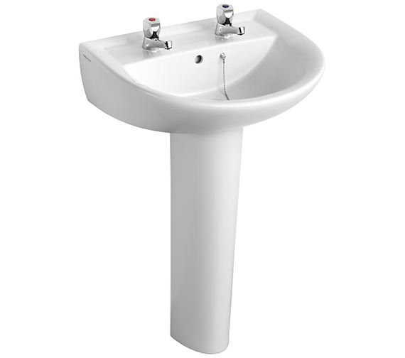 Armitage Shanks Sandringham 21 550mm Wide 2 Tap Hole Basin With Pedestal And Tap