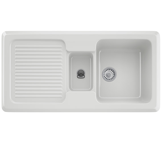 Franke V And B VBK 651 Ceramic White 1.5 Bowl Kitchen Inset Sink