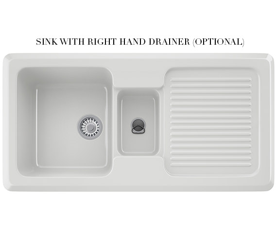 Additional image of Franke V And B VBK 651 Ceramic White 1.5 Bowl Kitchen Inset Sink