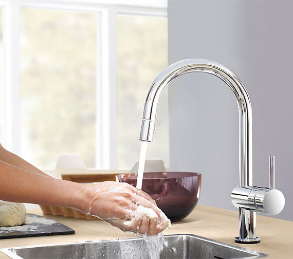 Grohe Minta Chrome Monobloc Kitchen Sink Mixer Tap With Swivel Tubular Spout