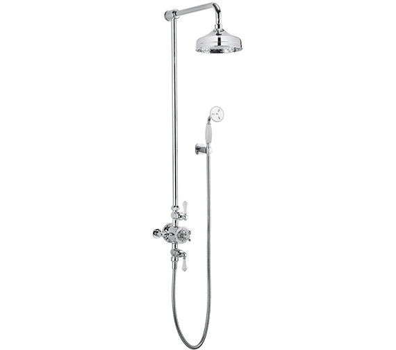 Additional image of Crosswater Belgravia Chrome Thermostatic Shower Rigid Riser With 8 Inch Head And Handset