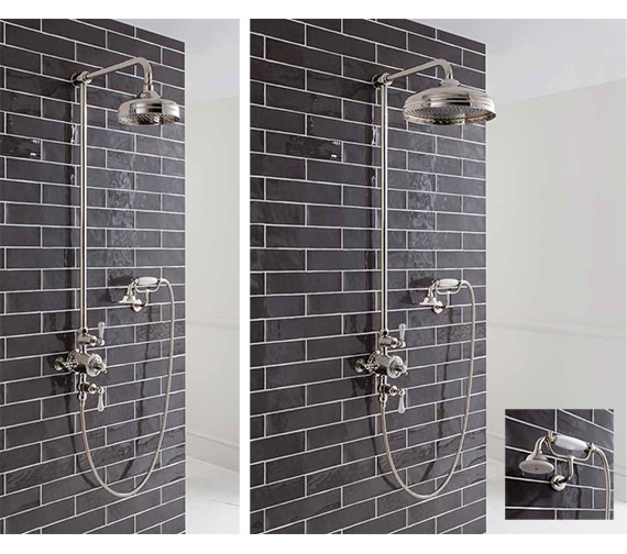 Alternate image of Crosswater Belgravia Chrome Thermostatic Rigid Riser Kit With 12 Inch Head And Cradle