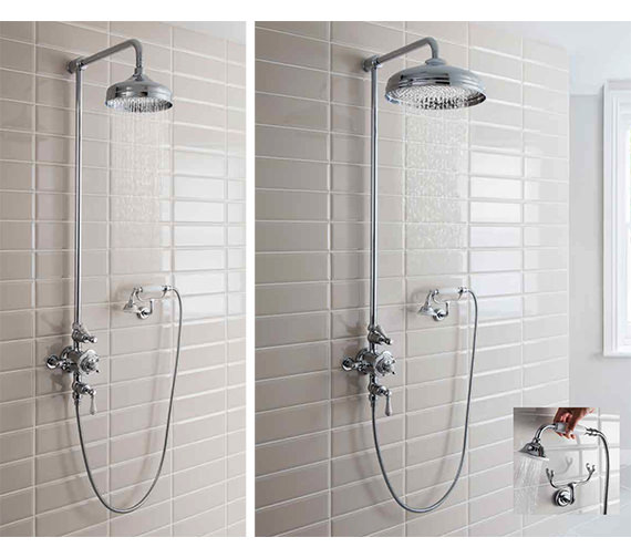 Crosswater Belgravia Chrome Thermostatic Rigid Riser Kit With 12 Inch Head And Cradle