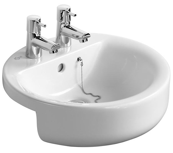 Ideal Standard Concept Sphere 450mm 2 Taphole Semi-Countertop Washbasin