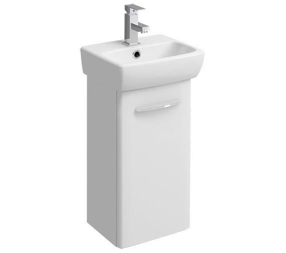 Twyford E100 Square 305mm White Unit For 360mm 1 Or 2 Tap Hole Basin