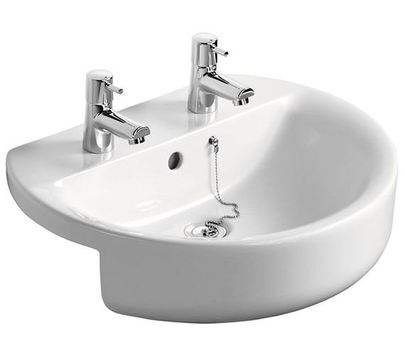 Ideal Standard Concept Sphere 550mm 2 Taphole Semi-Countertop Washbasin