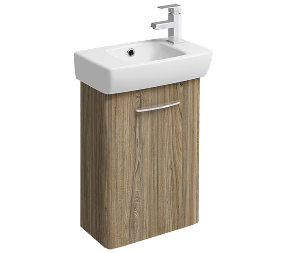 Twyford E100 Square 396mm Grey Ash Wood Unit And 450mm 1 RH Tap Hole Basin