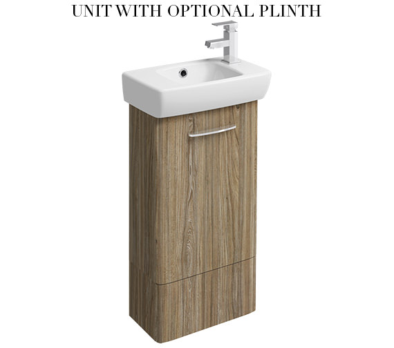 Additional image of Twyford E100 Square 396mm Grey Ash Wood Unit And 450mm 1 RH Tap Hole Basin