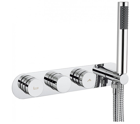 Crosswater Dial Central Trim Thermostatic Bath Valve With 2 Way Diverter And Handset