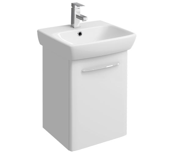 Twyford E100 Square 420mm White Unit And 500mm 1 Tap Hole Basin