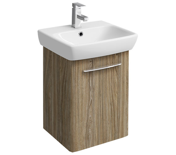 Twyford E100 Square 420mm Grey Ash Wood Unit And 500mm 1 Tap Hole Basin