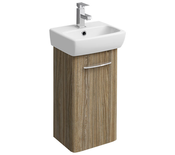 Twyford E100 Square 305mm Grey Ash Wood Unit For 360mm 1 Or 2 TH Basin