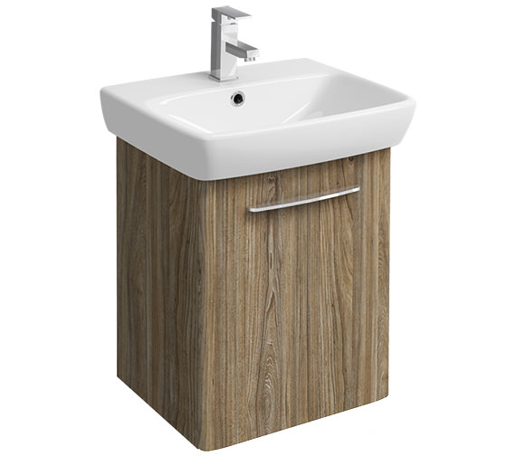 Twyford E100 Square 464mm Grey Ash Wood Unit And 550mm 1 Tap Hole Basin