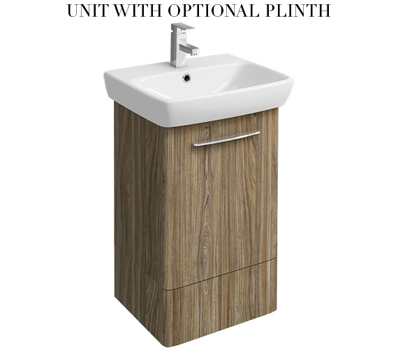 Additional image of Twyford E100 Square 464mm Grey Ash Wood Unit And 550mm 1 Tap Hole Basin