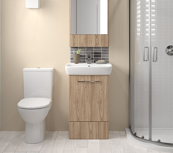Alternate image of Twyford E100 Square 464mm Grey Ash Wood Unit And 550mm 1 Tap Hole Basin