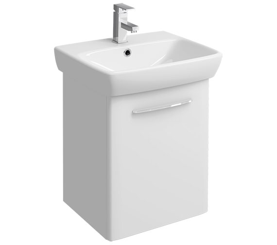 Twyford E100 Square 464mm White Unit And 550mm 1 Tap Hole Basin