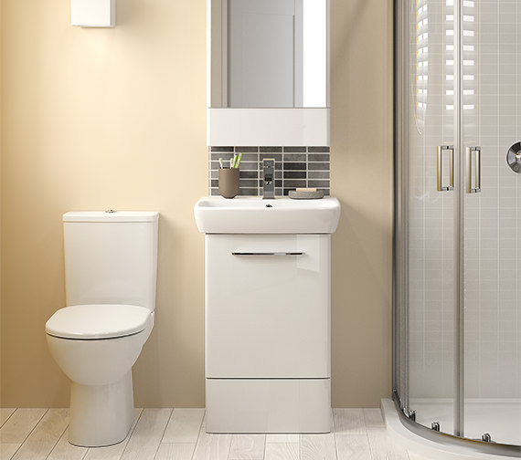 Alternate image of Twyford E100 Square 464mm White Unit And 550mm 1 Tap Hole Basin