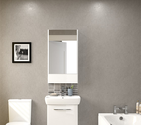 Additional image of Twyford E100 464 x 850mm Square Mirror Cabinet White