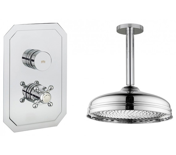 Crosswater Dial - Belgravia 1 Control Valve With Shower Head And Ceiling Arm