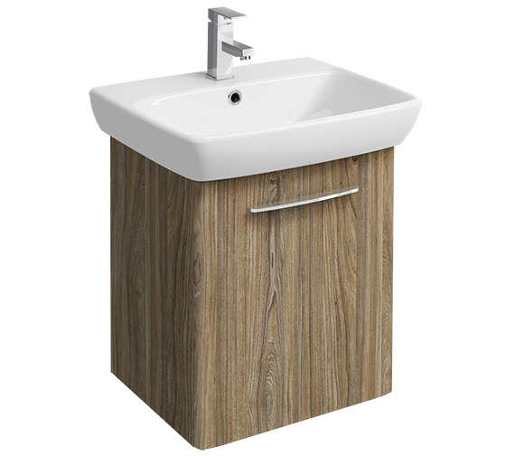 Twyford E100 Square 568mm Grey Ash Wood Unit And 600mm 1 Tap Hole Basin