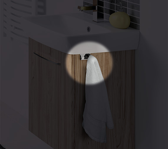 Alternate image of Twyford E100 Square 568mm Grey Ash Wood Unit And 600mm 1 Tap Hole Basin