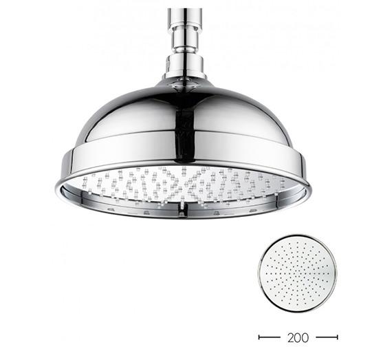 Crosswater Belgravia Chrome Easy Clean Fixed Shower Head 200mm