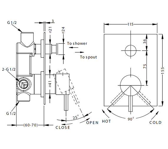 Technical drawing QS-V38342 / KL0005RC