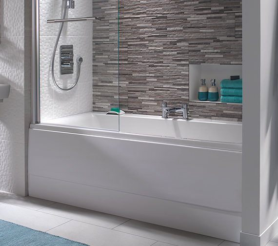 Additional image of Twyford Athena Acrylic Double Ended 2 Tap Hole 1700 x 750mm Bath
