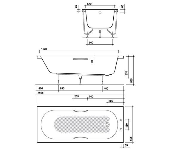 Technical drawing QS-V10733 / OL8822WH