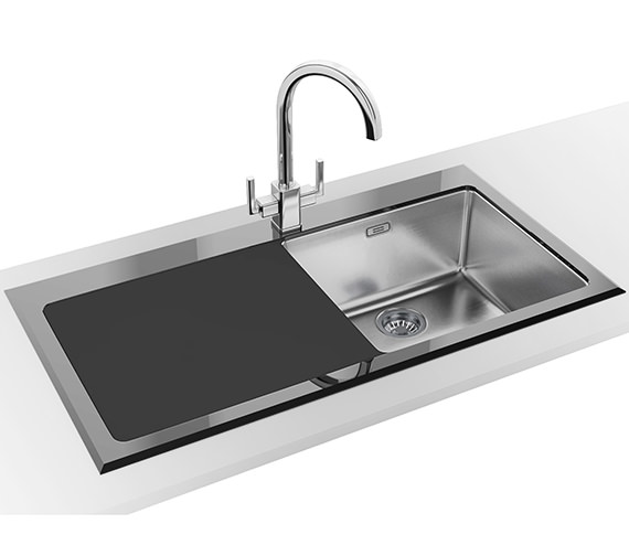 Franke Kubus Designer Pack KBV 611 Black Glass Inset Sink And Tap