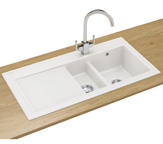 Franke Mythos Designer Pack MTK 651 Ceramic White Kitchen Sink And Tap
