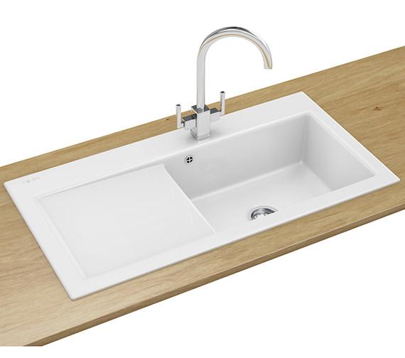 Franke Mythos Designer Pack MTK 611 Ceramic White Kitchen Sink And Tap