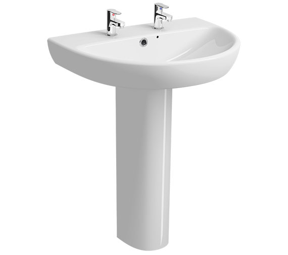 Twyford E100 Round 650 x 500mm 2 Tap Hole Washbasin With Full Pedestal