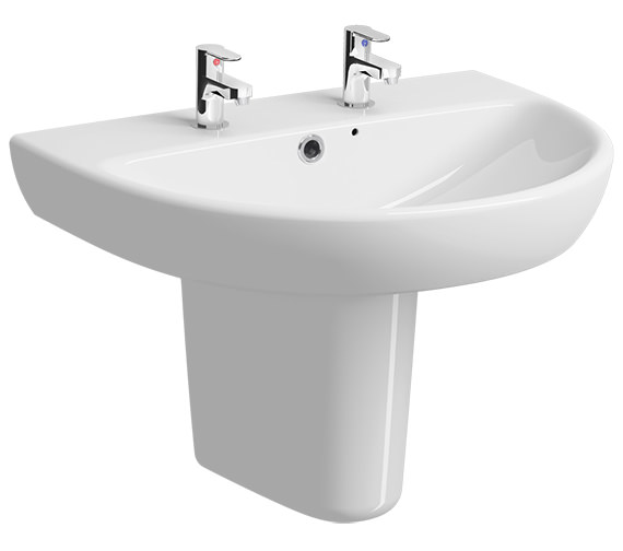Twyford E100 Round 650 x 500mm 2 Tap Hole Washbasin With Semi Pedestal