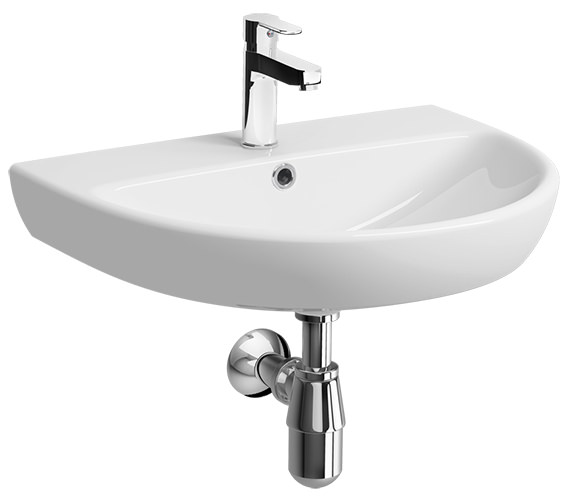 Twyford E100 Round 650 x 500mm 1 Tap Hole Washbasin - E14331WH